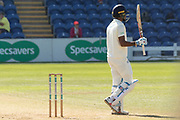 50 - Kraigg Brathwaite acknowledges the crowd on reaching 50during the Specsavers County Champ Div 2 match between Glamorgan County Cricket Club and Leicestershire County Cricket Club at the SWALEC Stadium, Cardiff, United Kingdom on 18 September 2019.