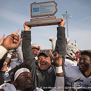Indiana University of University coach Paul Tortorella lifts the trophy as Indiana clinch the PSAC Division II Championship at West Chester University in the 2017 PSAC Championship Game at West Chester University. November 11, 2017. <br /> <br /> By Jack Megaw.<br /> <br /> <br /> <br /> www.jackmegaw.com<br /> <br /> jack@jackmegaw.com<br /> @jackmegawphoto<br /> [US] +1 610.764.3094<br /> [UK] +44 07481 764811