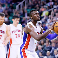 25 January 2016: Detroit Pistons guard Reggie Jackson (1) is seen at the free throw line during the Detroit Pistons 95-92 victory over the Utah Jazz, at the Vivint Smart Home Arena, Salt Lake City, Utah, USA.