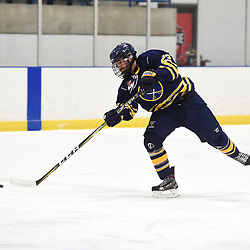 TORONTO, ON  - JAN 7,  2018: Ontario Junior Hockey League game between the Toronto Jr. Canadiens and the Buffalo Jr. Sabres, Scott Ramaekers #23 of the Buffalo Jr. Sabres shoots the puck during the first period.<br /> (Photo by Andy Corneau / OJHL Images)