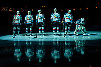 KELOWNA, CANADA - APRIL 26: Reid Gardiner #23, Nick Merkley #10, Calvin Thurkauf #27, Cal Foote #25, Gordie Ballhorn #4 and Michael Herringer #30 of the Kelowna Rockets make up the starting line up against the Seattle Thunderbirds on April 26, 2017 at Prospera Place in Kelowna, British Columbia, Canada.  (Photo by Marissa Baecker/Shoot the Breeze)  *** Local Caption ***