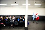 6-3-2014 LIMA PERU - Dutch Queen MAxima of the Netherlands visit UN headquarters Aankomst bij het VN-kantoor voor een besloten bijeenkomst.<br /> Begroeting door de heer Jhon Preissing, vertegenwoordiger van de FAO (Food and Agriculture Organization) en ad-interim VN-resident co&ouml;rdinator.<br /> COPYRIGHT ROBIN UTRECHT