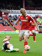 George Smith of Barnsley is tackled by Lauri Dalla Valle of Crewe Alexandra during the Sky Bet League 1 match at Oakwell, Barnsley<br /> Picture by Graham Crowther/Focus Images Ltd +44 7763 140036<br /> 10/10/2015