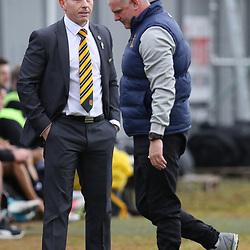 Stevie and Ian talk  during the Dumbarton v St Mirren Scottish Championship 14 October 2017<br /> <br /> <br /> <br /> <br /> <br /> (c) Andy Scott | SportPix.org.uk