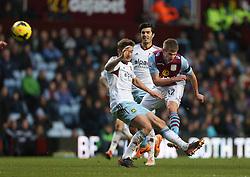 Aston Villa's Marc Albrighton shoots at goal - Photo mandatory by-line: Matt Bunn/JMP - Tel: Mobile: 07966 386802 08/02/2014 - SPORT - FOOTBALL - Birmingham - Villa Park - Aston Villa v West Ham United - Barclays Premier League