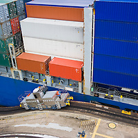 Cargo ship crossing the Panama Canal at Miraflores Locks