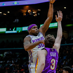 Jan 30, 2018; New Orleans, LA, USA; Sacramento Kings forward Zach Randolph (50) shoots over New Orleans Pelicans center Omer Asik (3) during the first quarter at the Smoothie King Center. Mandatory Credit: Derick E. Hingle-USA TODAY Sports