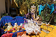 A shrine and offerings of skeleton and doll figurines inside the Temple of Nuestra Señora de la Santa Muerte or Church of the Saint of the Dead November 1, 2017 in Santa Ana Chapitiro, Michoacan, Mexico.