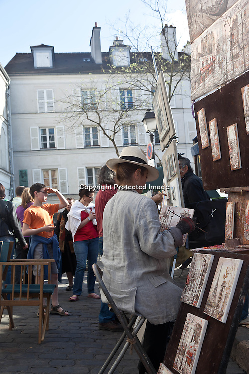artists and painters  place du tertre in  montmartre Paris  France