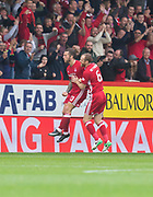 August 19th 2017, Pittodrie Stadium, Aberdeen, Scotland;  Scottish Premiership football, Aberdeen versus Dundee; Aberdeen's Stevie May celebrates with Mark Reynolds after scoring the winning goal