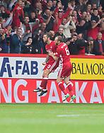 August 19th 2017, Pittodrie Stadium, Aberdeen, Scotland;  Scottish Premiership football, Aberdeen versus Dundee; Aberdeen's Stevie May celebrates with Mark Reynolds after scoring the winning goal