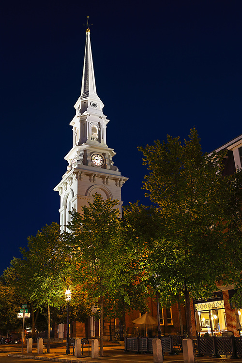 Twilight photo of the North Church in Portsmouth, NH. I love strolling New England towns on those beautiful and clear summer nights. <br />