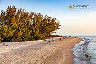 White sand beach at Blind Pass at sunset on Sanibel Island, Florida, USA