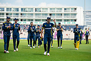 Gareth Berg of Hampshire walks off at the end of the Lancashire innings after taking 5 wickets for 26 runs during the Royal London One Day Cup semi-final match between Hampshire County Cricket Club and Lancashire County Cricket Club at the Ageas Bowl, Southampton, United Kingdom on 12 May 2019.
