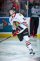 KELOWNA, CANADA - OCTOBER 20: Matthew Quigley #5 of the Portland Winterhawks warms up against the Kelowna Rockets on October 20, 2017 at Prospera Place in Kelowna, British Columbia, Canada.  (Photo by Marissa Baecker/Shoot the Breeze)  *** Local Caption ***