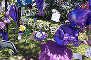 Prince spelled with large letters surrounded by purple flowers and balloons. Paisley Park Studios Chanhassen Minnesota MN USA