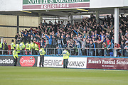 Carlisle United fans cheer as their team emerge before the EFL Sky Bet League 2 match between Hartlepool United and Carlisle United at Victoria Park, Hartlepool, England on 14 April 2017. Photo by Mark P Doherty.