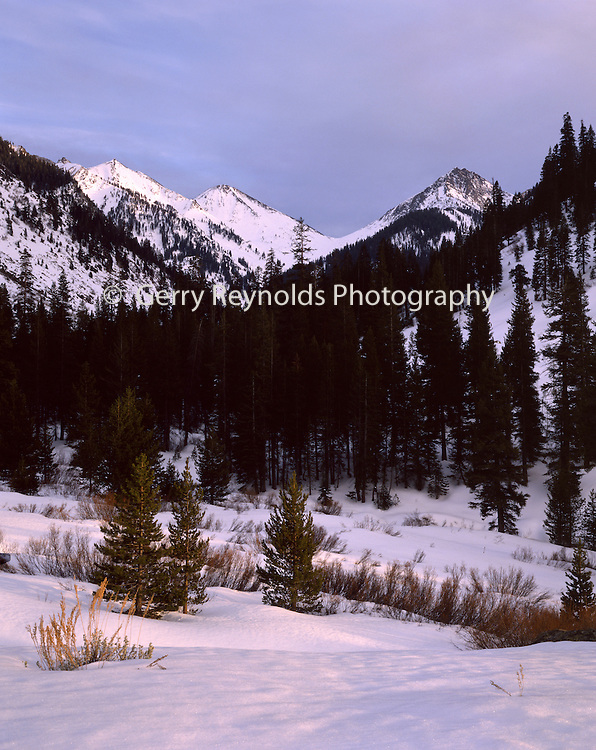 Sunset, Snow, Winter, Farewell Gap, Mineral King, Kaweah River, River, Sequoia and Kings Canyon National Park, California