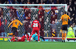 Wolverhampton Wanderers Stephen Ward fires the ball past Bristol City Goalkeeper, Tom Heaton to open the scoring for Wolves - Photo mandatory by-line: Joe Meredith/JMP  - Tel: Mobile:07966 386802 01/12/2012 - Bristol City v Wolves - SPORT - FOOTBALL - Championship -  Bristol  - Ashton Gate Stadium -