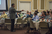 Dr. Adam Rapp, Executive Director of the Ralph & Lucy Schey Sales Centre, speaks with attendees of the Ohio MBA Leadership Development Workshop in the Baker Center ballroom on Saturday, August 27, 2016.