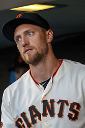 SAN FRANCISCO, CA - APRIL 18: Hunter Pence #8 of the San Francisco Giants stands in the dugout before the game against the Arizona Diamondbacks at AT&T Park on April 18, 2016 in San Francisco, California. The Arizona Diamondbacks defeated the San Francisco Giants 9-7 in 11 innings.  (Photo by Jason O. Watson/Getty Images) *** Local Caption *** Hunter Pence