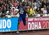 Athletics - 2017 IAAF London World Athletics Championships - Day Two (AM Session)<br /> <br /> Event: Mens 400m Heat 5<br /> <br /> LaShawn Merritt (USA) in lane 9 rounds the bend in the final 200m<br /> <br /> COLORSPORT/DANIEL BEARHAM
