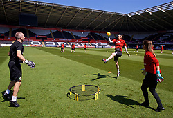 SWANSEA, WALES - Wednesday, June 6, 2018: Wales' goalkeeping coach Jon Horton with goalkeepers Laura O'Sullivan (centre) and Claire Skinner (right) during a training session at the Liberty Stadium ahead of the FIFA Women's World Cup 2019 Qualifying Round Group 1 match against Bosnia and Herzegovina. (Pic by David Rawcliffe/Propaganda)