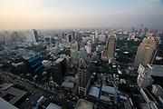 Downtown Bangkok and Sathorn Road seen from Banyan Tree Hotel's Vertigo Grill & Moon Bar on the 61st floor.
