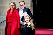 4-2-2018 AMSTERDAM - Departure  princess Alexia queen maxima and king willem alexander  at the Royal Palace on Dam Square for the birthday reception of Princess Beatrix. The princess celebrates her 80th birthday in private. ROBIN UTRECHT