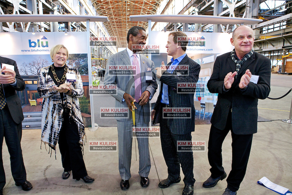 (L-R) Tom Sheaff, of Lennar Mare Island, Rosemary Wardell, a new Blu homeowner, City of Vallejo Mayor Osby Davis,  Bill Haney, Co-founder and President of Blu Homes, and CSI actor and Blu Homes Advisor, Paul Guilfoyle, cut the ceremonial ribbon as  Blu Homes opens their West Coast factory on Mare Island in Vallejo, California Dec. 1, 2011.  Over 400 guests attended a ribbon cutting ceremony at the 250,000-square-foot facility.