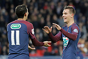 Angel Di Maria (psg) and Giovani Lo Celso (PSG) celebrated the goal scored by Marcos Aoas Correa dit Marquinhos (PSG) from the decisive ball by Angel Di Maria (psg) during the French Cup, round of 32, football match between Paris Saint-Germain and EA Guingamp on January 24, 2018 at Parc des Princes stadium in Paris, France - Photo Stephane Allaman / ProSportsImages / DPPI