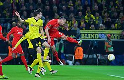 DORTMUND, GERMANY - Thursday, April 7, 2016: Liverpool's Dejan Lovren misses a chance against Borussia Dortmund during the UEFA Europa League Quarter-Final 1st Leg match at Westfalenstadion. (Pic by David Rawcliffe/Propaganda)