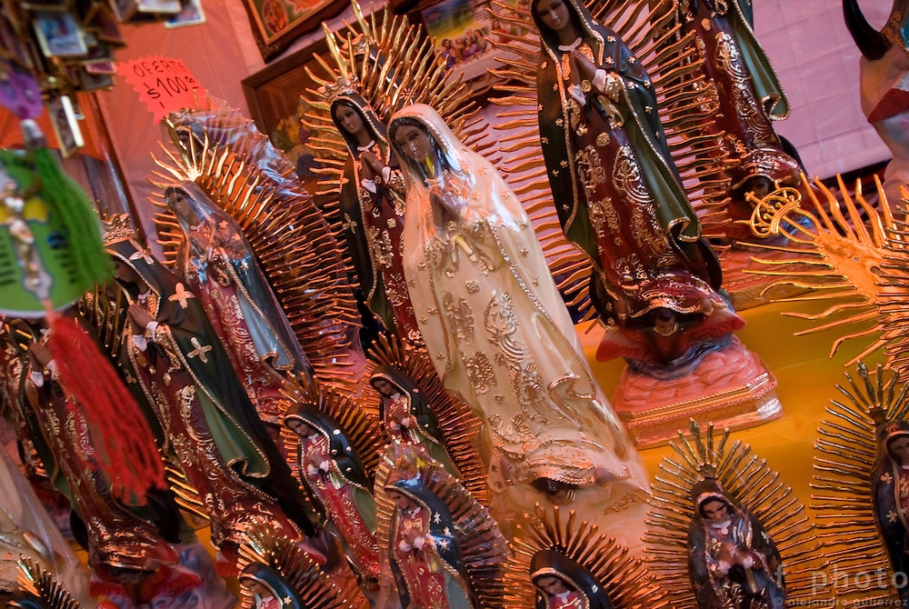 Scupltures, images and t-shirts with the images of the virgin are sold to the pilgrims.