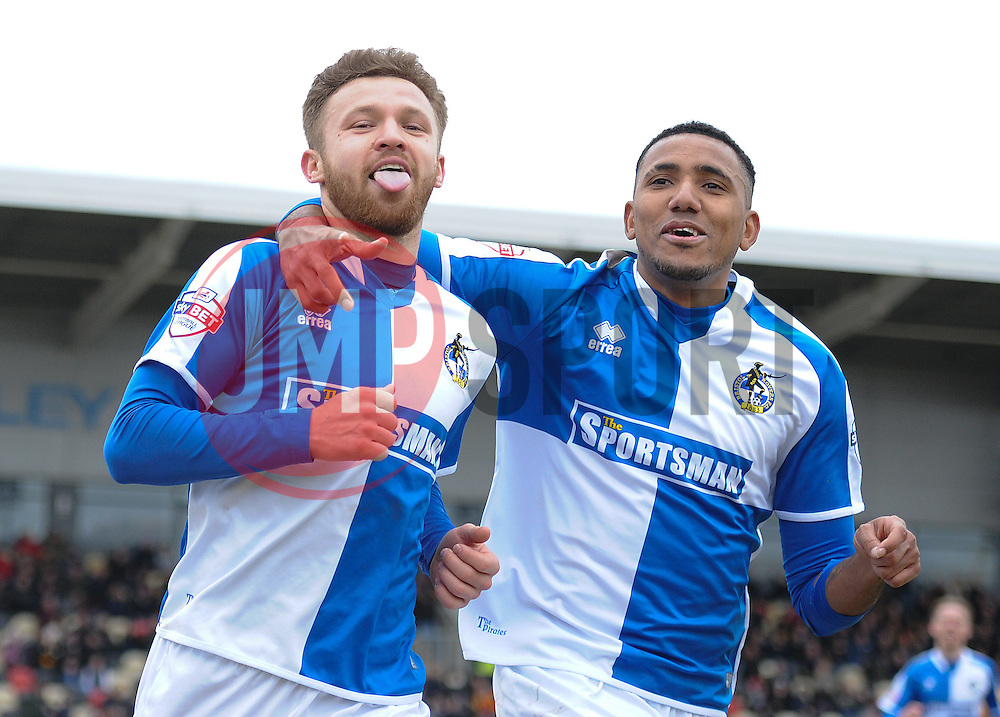 Matt Taylor of Bristol Rovers celebrates with Cristian Montano of Bristol Rovers - Mandatory byline: Alex James/JMP - 19/03/2016 - FOOTBALL - Rodney Parade - Newport, England - Newport County v Bristol Rovers - Sky Bet League Two