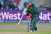 Samit Patel drives during the Natwest T20 Blast quarter final match between Nottinghamshire County Cricket Club and Essex County Cricket Club at Trent Bridge, West Bridgford, United Kingdom on 8 August 2016. Photo by Simon Trafford.