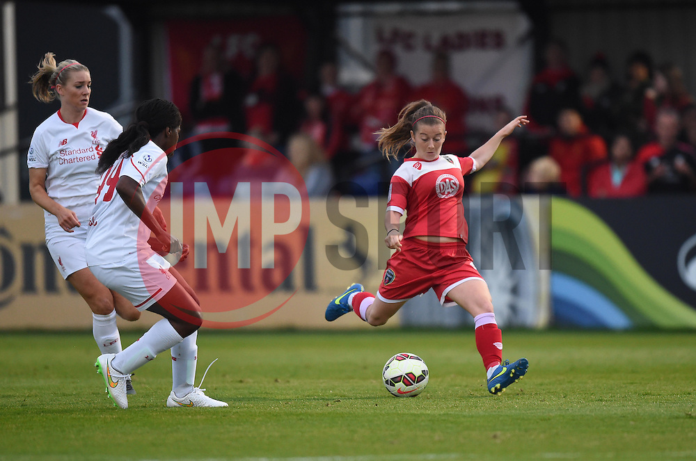 Christie Murray shoots to score Bristol Academy Women's second goal against Liverpool Ladies  - Mandatory by-line: Paul Knight/JMP - Mobile: 07966 386802 - 04/10/2015 -  FOOTBALL - Stoke Gifford Stadium - Bristol, England -  Bristol Academy Women v Liverpool Ladies FC - FA Women's Super League