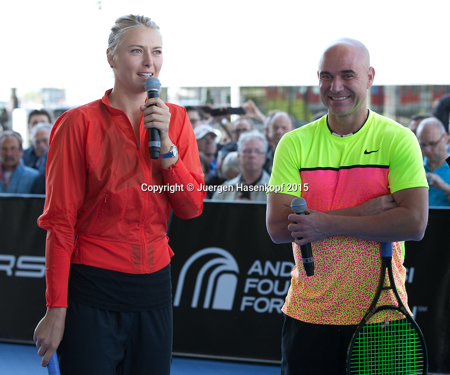 Andre Agassi vs Maria Sharapova Exhibition match, <br /> Tennis - Porsche Grand Prix - WTA -   - Stuttgart -  - Germany  - 21 April 2015. <br /> &copy; Juergen Hasenkopf