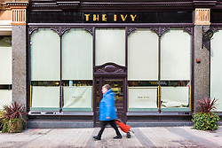 © Licensed to London News Pictures. 21/03/2020. Leeds UK. The Ivy in Leeds city centre has been closed due to the Covid 19 outbreak. Photo credit: Andrew McCaren/LNP