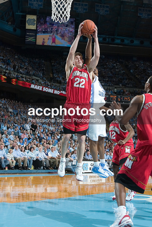 26 February 2006: Senior Terrapin forward (22) Nik Caner-Medley with a defensive rebound during a Maryland Terrapins 57-81 loss to the North Carolina Tar Heels, in the Dean Smith Center in Chapel Hill, NC.