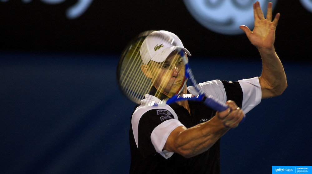 Andy Roddick of USA in action in the Men's semi finals at the Australian Tennis Open on January 29, 2009 in Melbourne, Australia. Photo Tim Clayton    .