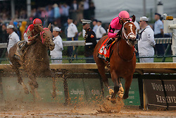 May 4, 2019 - Louisville, KY, U.S. - LOUISVILLE, KY - MAY 04: Kentucky  Derby jockey Luis Saez rides Maximum Security (7) to victory only to later be disqualified at the 145th running of the Kentucky Derby on May 4, 2019 at Churchill Downs, in Louisville, KY.(Photo by Jeffrey Brown/Icon Sportswire) (Credit Image: © Jeffrey Brown/Icon SMI via ZUMA Press)