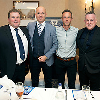 Chris Millar Testimonial Boxing Night at The Salutation Hotel, Perth..15.09.18<br />The top table pictured from left, Derrick Riley Fair City ABC, Matt Henderson Testimonial Committe Chairman, Chris Millar and Bill Leckie<br />Picture by Graeme Hart.<br />Copyright Perthshire Picture Agency<br />Tel: 01738 623350  Mobile: 07990 594431