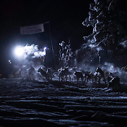 A musher enters Braeburn Checkpoint.