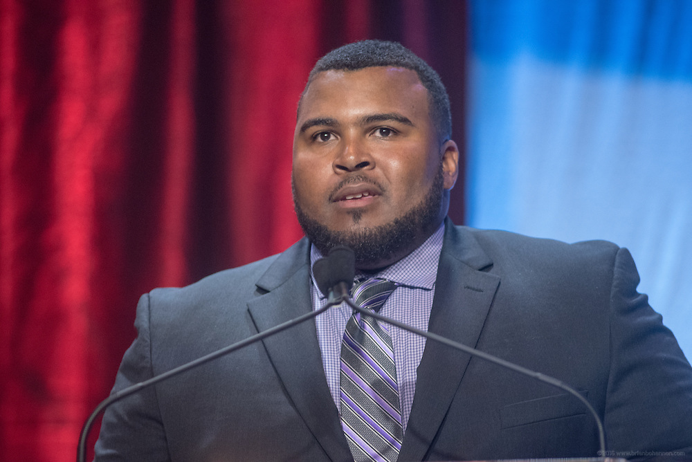 Assad Ali,college baseball assistant coach and Muhammad Ali's son, presents Tina Hovsepian of Los Angeles, Cal., with one of the six Core Principle Awards, the Respect award, at the fourth annual Muhammad Ali Humanitarian Awards Saturday, Sept. 17, 2016 at the Marriott Hotel in Louisville, Ky. (Photo by Brian Bohannon for the Muhammad Ali Center)