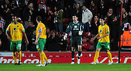 Southampton - Tuesday, September 30th, 2008: The defence of Norwich City after conceding the first goal during the Coca Cola Championship match at Southampton. (Pic by Daniel Hambury/Focus Images)