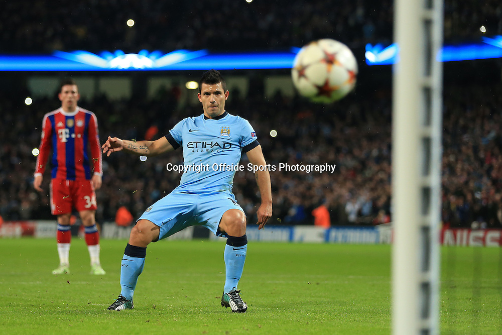 25th November 2014 - UEFA Champions League - Group E - Manchester City v Bayern Munich - Sergio Aguero of Man City scores their 1st goal with a penalty - Photo: Simon Stacpoole / Offside.