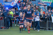 Stuart McInally (#2) of Edinburgh Rugby leads out the Edinburgh team before the Guinness Pro 14 2018_19 match between Edinburgh Rugby and Ulster Rugby at the BT Murrayfield Stadium, Edinburgh, Scotland on 12 April 2019.