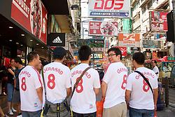 Hong Kong, China - Friday, July 27, 2007: Asian Liverpool fans wearing Steven Gerrard shirts in Mong Kok, Hong Kong. (Photo by David Rawcliffe/Propaganda)