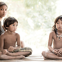 Portrait of a Batak family in Puerto Princesa municipality, Palawan, Philippines