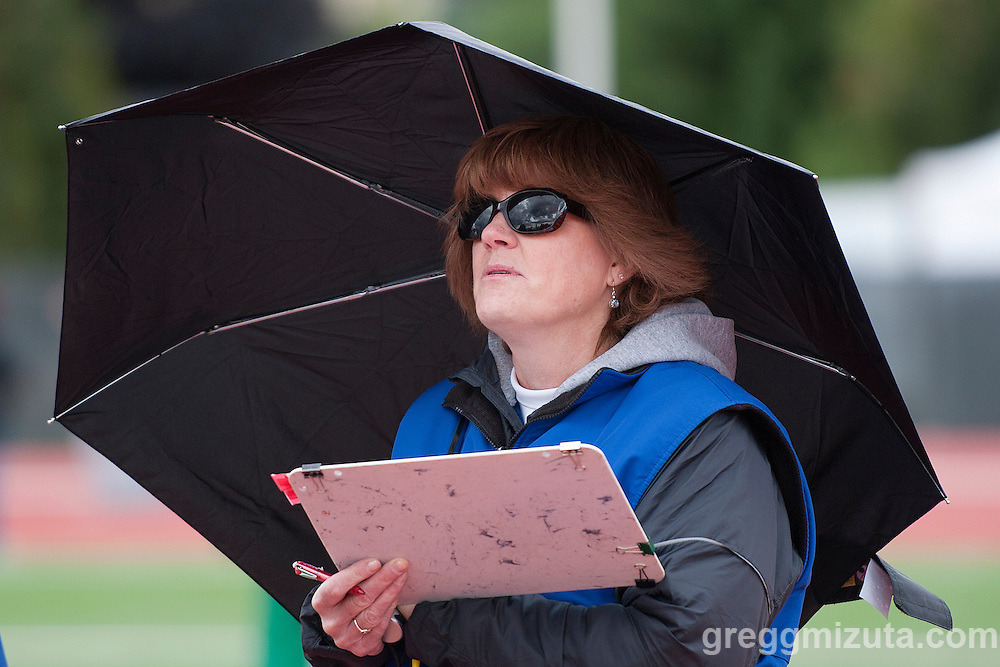 Pole vault official Wanda Waybright at the Idaho High School Track & Field State Championships at Dona Larson Park, Boise, Idaho. May 21, 2016.